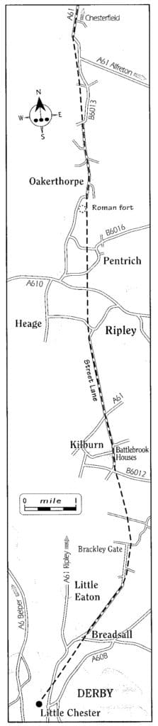 Ryknild Street, Map of section of Ryknield Street Roman road